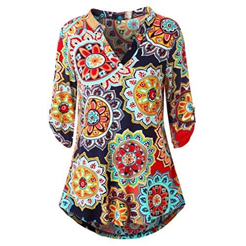 ESAILQ Damen Blumenmuster Langarmshirt A-Linie Hem Tunika Stretch - 70er Jahre Kostüm Zum Verkauf