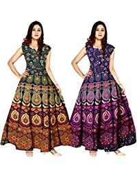 88efefaac96 Silver Organisation Women Fit and Flare Cotton Fabric Printed A-Line Maxi  Midi Western Long Gown Dress (combo pack of…