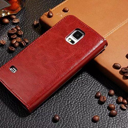 Wkae Case Cover Samsung S5 Fall feste Folio magnetische Design Flip Brieftasche Stil Fall Farbmuster PU-Leder-Abdeckung Standup-Abdeckungsfall für Samsung S5 ( Color : Brown , Size : Samsung S5 ) Brown