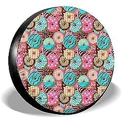 Dem Boswell Reserverad Reifen Abdeckung Pink Donut Chocolate Muster Trinkwasser Polyester Universal Wasserdicht Staubdicht Sonnencreme Universal Fit