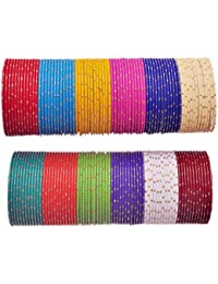 NMII Colorfull Matching Alloy Metal Bangle With Golden Design Pattern Bangles For Girls & Women On Wedding, Festive...
