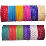Nmii Beautiful Plain Design Glossy Multicolor Bangles Set For Girls & Women