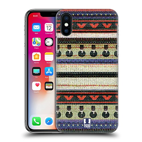 Head Case Designs Cappellino Natale Alluncinetto Cover Retro Rigida per Apple iPhone X Gilet