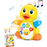 JOYIN Dancing Walking Yellow Duck Baby Toy with Music and LED Light Up for Infants, Toddler Interactive Learning Development,