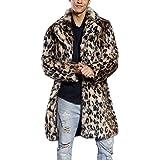 Homebaby Giacca Invernale da Uomo Cappotto in Pelliccia Sintetica Leopardata Caldo Classico Felpe Elegante Caldo Giubbini Manica Lunga Camicia Maglia Autunno Inverno Abbigliamento