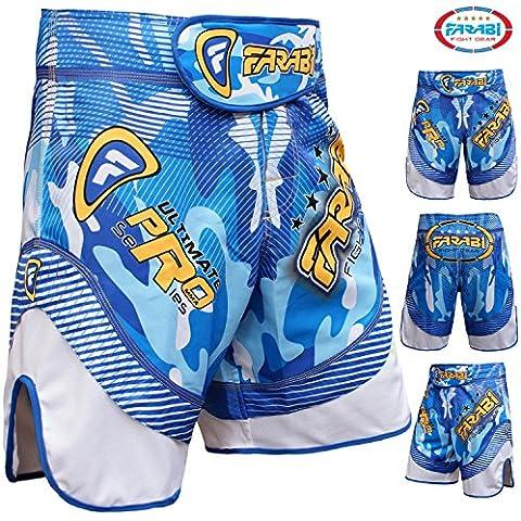 Farabi–Pantalones cortos de MMA Grappling Jaula Lucha Entrenamiento Kick Boxing Match Ultimate Pro Series Azul, hombre mujer