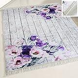 mynes Home Teppich waschbar im Landhausstil Shabby Chic Style Designer Modern mit Rosen Rutschhemmend Waschmaschinengeeignet für Küche Schlafzimmer Bad etc.