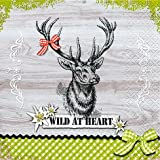 20 Servietten Wild at heart / Hirsch / Hirschmotiv 33x33cm