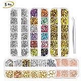 Phogry, kit per nail art, 3000 pezzi (5 scatole) con strass colorati a forma di occhio di cavallo (5 scatole) per decorazione unghie fai da te