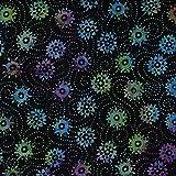 Fabric Freedom Schwarz Räder Design 100% Baumwolle Bali Batik Tie Dye Muster Stoff für Patchwork, Quilten &,–(Preis Pro/Quarter Meter)