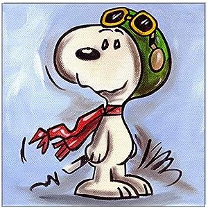 Original Acryl auf Leinwand und Keilrahmen: Peanuts Snoopy vs. Red Baron/ 20x20 cm