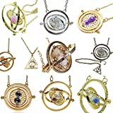 H&H UK Time Turner Necklace Wizardry Falcoa Horcrux Hourglass Pendant In Velvet Pouch