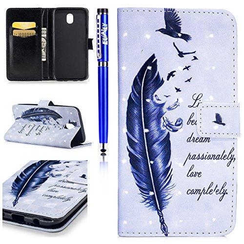 EUWLY Kompatibel mit Samsung Galaxy J3 2017 Handytasche Luxus Glänzend Glitzer Kristall Bling Ledertasche Flip Case Cover Brieftasche Hülle mit Magnetverschluss Kartenfach,Vogel Feder