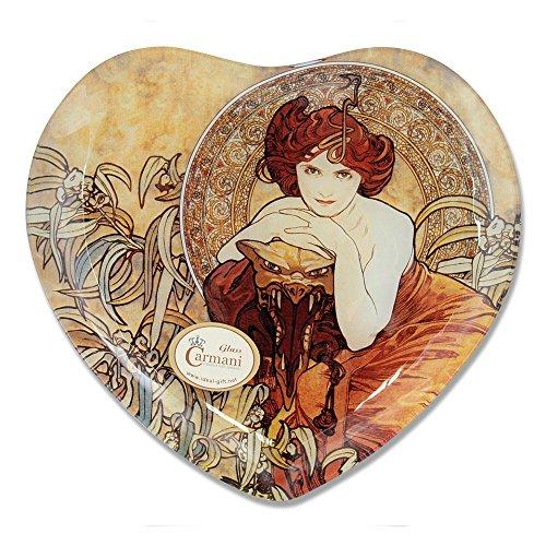 CARMANI - Coeur décoratif en Forme de Plaque imprimé avec la Peinture Mucha, Emerald 25x23cm