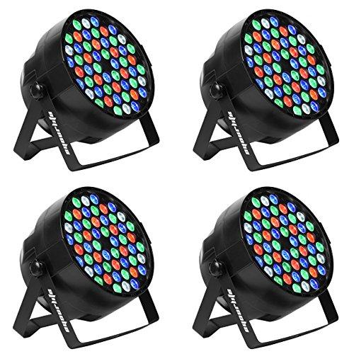 LED Par, Eyourlife LED Partylicht Bühnenbeleuchtung Discolicht Par LED 60W Lichteffekt DMX512 RGBW Stage Light 54 LEDs (4 Stück)