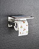 HYSENM Klopapierhalter WC Papier Halterung 304 Edelstahl mit Ablage für Handy Wandmontage Badezimmer, Silber 1
