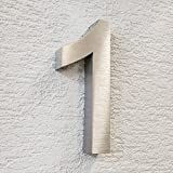 Metzler-Trade® 3D-Hausnummer Nr. 1 aus Edelstahl (V2A - gebürstet) - rostfrei & witterungsbeständig - 20 x 3,5 cm (Höhe x Tiefe) groß - modernes Design - inkl. Montagematerial
