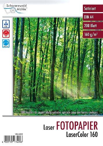 """Schwarzwald Mühle Laserdrucker Papier:""""LaserColor 160"""" 160 g/m² A4 200 Blatt (Fotopapier Laser)"""