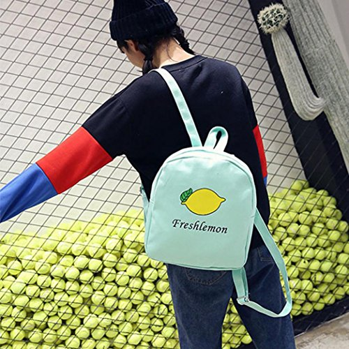 Longra Sacchetto di spalla delle signore, zaino puro di stampa del mango di colore Verde