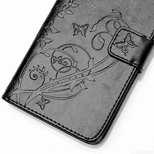 Prägen Blumen-Case, Magnetverschluss Synthetische PU-Leder-Kasten-Abdeckung mit hängenden Seil und Wallet-Funktion für WIKO RAINBOW 4G ( Color : Pink , Size : WIKO RAINBOW 4G ) Black