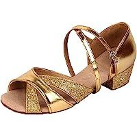 missfiona Girls Glitter Ballroom Dance Shoes Kids Latin Tango Dance Practice Low Heels