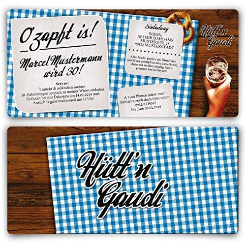 Einladungskarten zum Geburtstag (20 Stück) Hütt\'n Gaudi Frühschoppen O\'zapft is! Oktoberfest in Blau