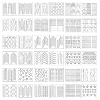 1275 Pieces 49 Designs Nail Art Stencils French Tip Guides Stickers Form Fringe Guides Vinyl, 36 Sheets