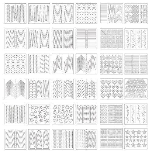 Französisch Nail Tips (1275 Stück 49 Designs Nail Art Schablonen Französisch Tip Guides Aufkleber Form Fringe Guides Vinyl, 36 Blatt)