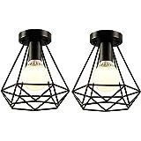 iDEGU 2 Pack Plafonniers Industrielles 20cm Métal Cage Noir Vintage Suspension Luminaire Rétro Lampe de Plafond E27 Luminaire