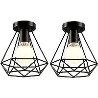 iDEGU 2 Pack Plafonniers Industrielles 20cm Métal Cage Noir Vintage Suspension Luminaire Rétro Lampe de Plafond E27…