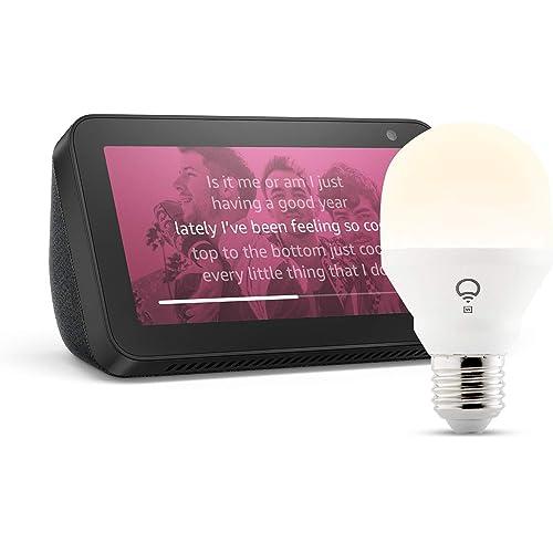 Echo Show 5, Nero + lampadina intelligente LIFX White, compatibile con Alexa