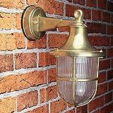 Außenleuchte Wand echtes Messing Glasschirm rostfrei rustikal E27 Außenwandleuchte Haus Hof Balkon Terrasse