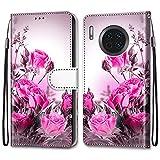 Nadoli Bunt Leder Hülle für Huawei Mate 30 Pro,Cool Lustig Tier Blumen Schmetterling Entwurf Magnetverschluss Lanyard Flip Cover Brieftasche Schutzhülle mit Kartenfächern -