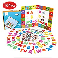 BeebeeRun 164 pcs Magnetic Letters and Numbers for Children,Educational Toys for 3 Year Olds Boys Girls,Alphabet Animal Magnets Fridge Magnets,Preschool Toy for Learning, Spelling, Counting
