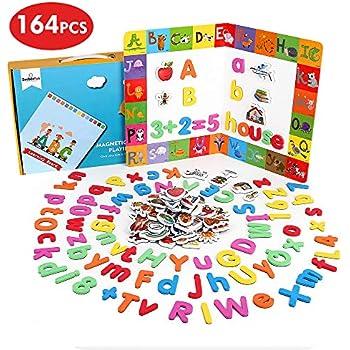 Beebeerun Lettres Et Chiffres Magnétiques Pour Enfants164 Pcs Alphabet Magnétique Jouets éducatifs Pour Lapprentissage Préscolaire