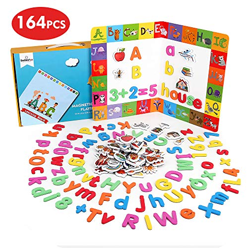 BeebeeRun 164 pcs Magnetic Letters and Numbers for Children,Alphabet Animal Magnets,Fridge Magnets for Kids,Educational Toys for 3 Year Olds Boys Girls,Preschool Toy for Learning, Spelling, Counting