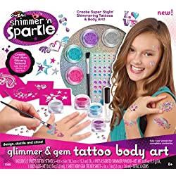 Shimmer & Sparkle Glitter Glam Tattoo Body Art, Multi Color