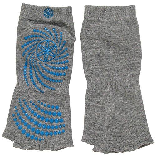 gaiam-grippy-toeless-yoga-socks-heather-grey-teal