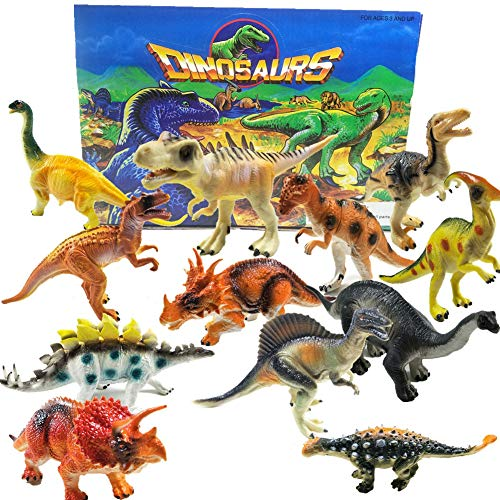 IROCH Dinosaur Toys,7 Inch Jumbo STEM Educational Realistic Plastic Dinosaur Playset For 3 Years Up Toddlers and Older Kids