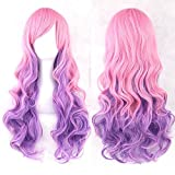 LACGO Curly Multi-Color Cosplay Wig/Lolita Long Curly Cosplay Wig/Heat Resistant Spiral Costume Wigs/Anime