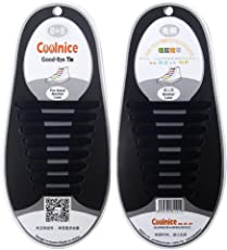 CrownLit Unisex Coolnice No Tie Waterproof and Stretchy Silicone Tieless Shoe Laces, Standard (Black, 54523)