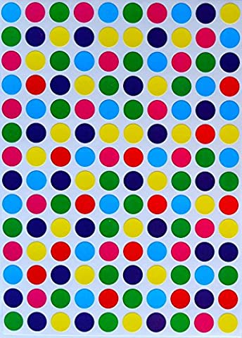 Royal Green Round Labels Mini Dot Stickers For Color Coding 6 Colors Blue, Light Blue, 0.375 3/8 Diameter Green, Red, Pink And Yellow Classic Colors - 4200