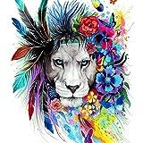 Kit per pittura a mosaico 5D fai da te con perline a forma di cubo magico per adulti, kit per punto croce, 40 x 30 cm Colorful lion