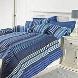 Gran nudo plata Rango, Oxford, diseño de rayas, fácil de cuidar Juego de funda nórdica, azul, King 230x220
