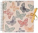Innova q1607125Tradizionale Album Fotografico a Spirale, 50Pagine 25x 25cm Farfalle Cartone Verde, Grigio, Rosso, Giallo, Naturale 24x 25.5x 1.5cm