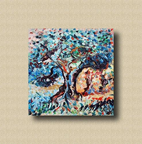 Im europäischen Stil Hand-Painted Retro Malerei, Ölgemälde, Tapeten, personalisierte Schlafzimmer, Wohnzimmer, Hintergrund, Wand, Tapete, abstrakte Blume Wandmalereien acrylicl on canavas 80x80cm