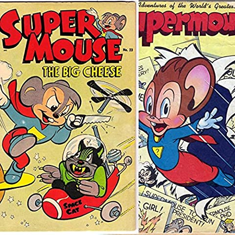Super Mouse Issues 1 and 23. Adventures of the world's greatest mouse. Cartoon Comics featuring the big cheese. Golden Age Digital