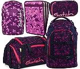 satch pack Pink Bermuda 5er Set Schulrucksack, Sporttasche, Schlamperbox, Heftebox & Regencape Lila