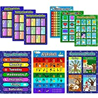9 Pieces Educational Preschool Posters Learning Poster Kit for Toddlers, Alphabet, Number 1-100, Shapes and Colors, Seasons and Months, Planet and Weather, Days of the Week, Addition Subtraction Multi