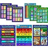 9 Piezas de Póster Preescolar Educativo Kit de Póster de Aprendizaje para Niños, Alfabeto, Número 1-100, Formas y Colores, Estaciones y Meses, Planeta y Clima, Días de Semana, Tablas de Adición Sustra